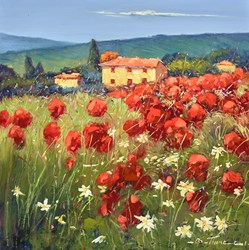 Fiori Rossi Nel Campo I by Bruno Tinucci - Original Painting on Stretched Canvas sized 20x20 inches. Available from Whitewall Galleries